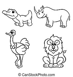 Outlined zoo animals collection