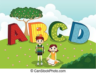 ABCD alphabet and children - colourfull