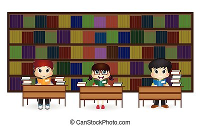 Kids at Library - colourfull