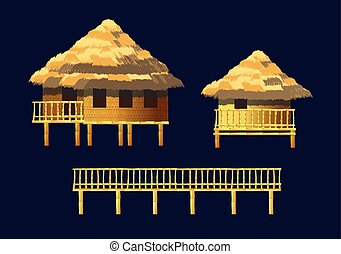 bungalows set - A set of bungalows and buildings made of...