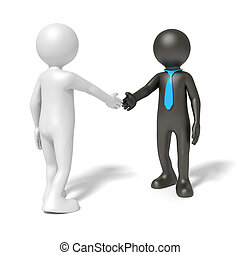 black and white man shaking hands