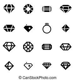 Vector black diamond icon set on white background
