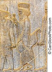 Persian nobleman relief detail Persepolis - Persian nobleman...