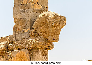 Taurus head Persepolis - Taurus head part of the old wall of...
