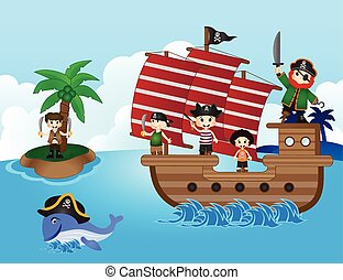Illustration of little pirates sail with the ship