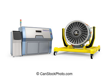 Metal 3D printer and Jet fan engine on engine stand. Concept...