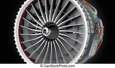 Close up animation of jet engine - Close up animation of jet...