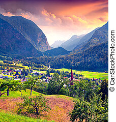 View from a bird's eye of Oetz village and Heiliger Georg...
