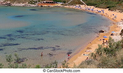 Top view of people on golden beach - Top view of yellow...