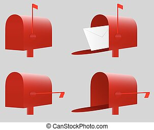Red Mailbox. Vector. EPS10. 4 variants(closed and opened...
