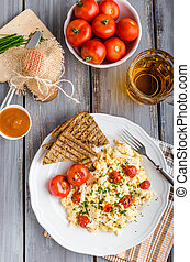 Scrambled eggs with baked tomatoes and chives, panini...