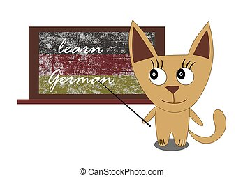 cat with a blackboard - Illustration of a cat with a...
