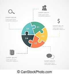 Infographic circle puzzle - Colorful five sided circle...