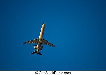 Jet airliner against blue sky