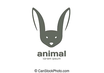 Abstract animal face logo vector template