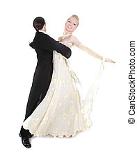 beautiful couple dancing over white