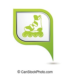 Pointer with roller skating icon - Map pointer with roller...