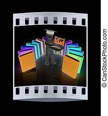 3d man in graduation hat working at his laptop and books The...