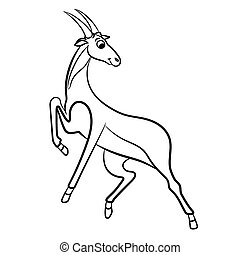 Outlined antelope vector illustration. Isolated on white.