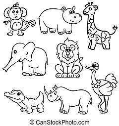 Outlined zoo animals collection - Cute outlined zoo animals...