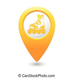 Pointer with roller skating ico - Yellow map pointer with...