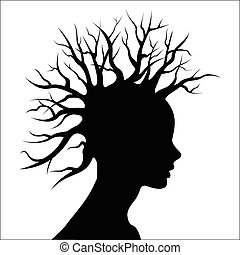 Head silouete with tree as hair - Vector illustration - Head...