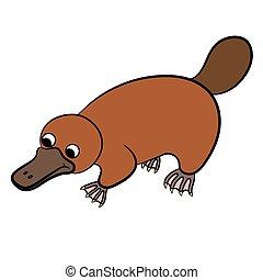 caricatura, Platypus, o, duckbill, ,