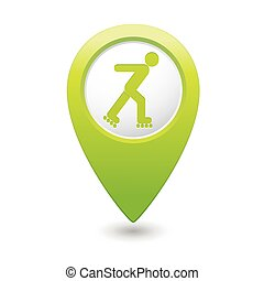 Roller skating icon on map pointer - Map pointer with roller...