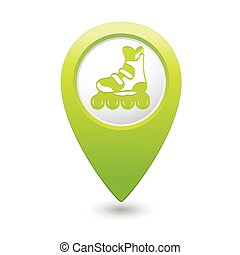 Pointer with roller skating icon - Green map pointer with...