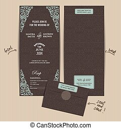 All in One Wedding Invitation - Vintage All in One Wedding...