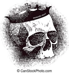 Vector white skull on black background in grunge design...