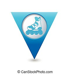 Pointer with roller skating icon - Blue triangular map...