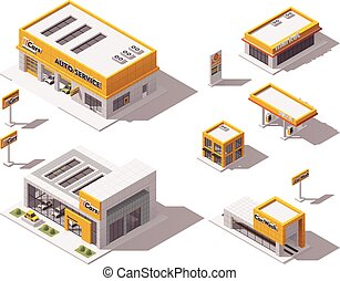 Vector road transport related buildings - Set of the...