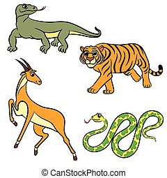 Zoo animals collection Vector illustration