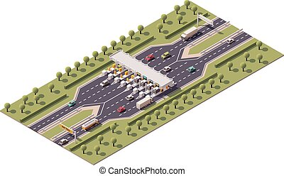 Vector highway toll gate - Vector isometric road toll...