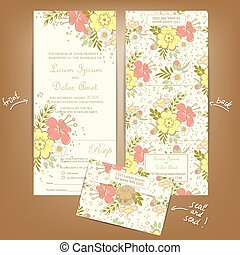 All in One Wedding Invitation with Vintage Flowers. Seal and...