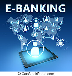 E-Banking illustration with tablet computer on blue...