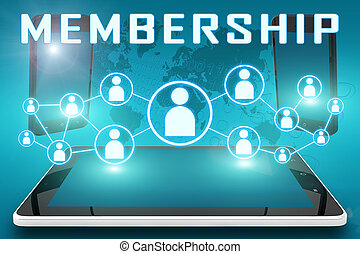 Membership - text illustration with social icons and tablet...