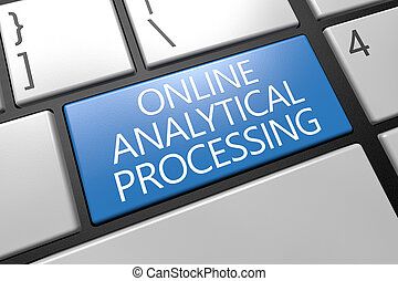 Online Analytical Processing - keyboard 3d render...