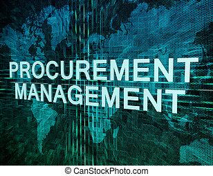 Procurement Management text concept on green digital world...