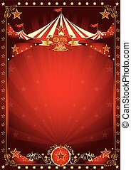 Fun red circus poster - A circus background with a large...
