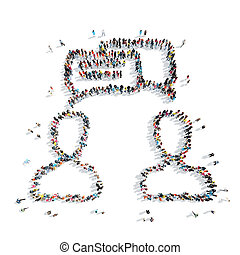 group people shape man communication - A group of people in...