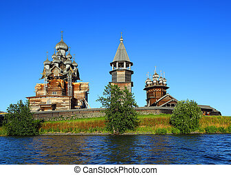 russian wooden architecture on Kizhi island - old russian...