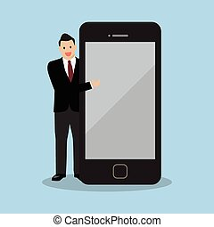 Businessman pointing to the screen of a smartphone