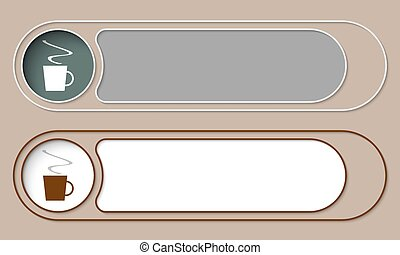 Set of two simple buttons and cup of coffee