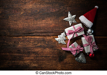 Christmas background - Christmas Santa Claus hat with gift...