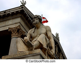 vienna, austrian parliament and statue on the front