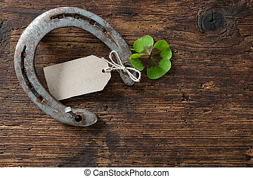 St. Patricks day, lucky charms. Four leaved clover and a...