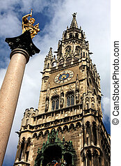 Munich, Germany - Munich Germany, Marienplatz and new town...