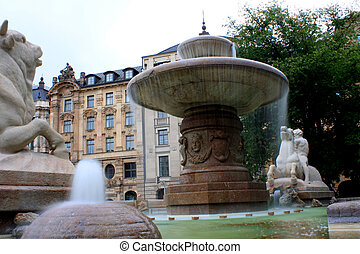 Wittelsbach Fountain on Maximiliansplatz, Munich, Germany